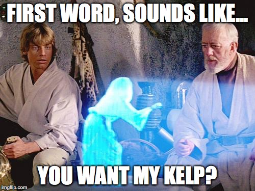 First word, sounds like... You want my kelp?