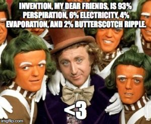 Invention, my dear friends, is 93% perspiration, 6% electricity, 4% evaporation, and 2% butterscotch ripple.