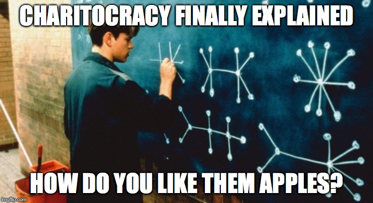 Charitocracy finally explained. How do you like them apples?