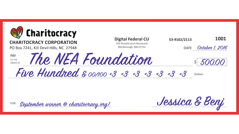 Charitocracy's 1st check to September winner The NEA Foundation for $500