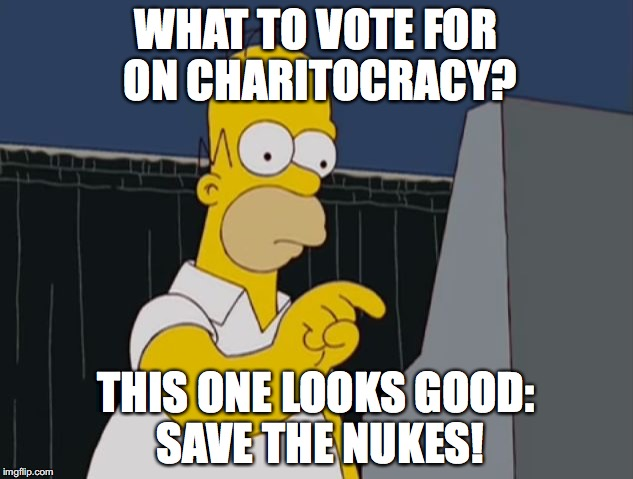 What to vote for on Charitocracy? This one looks good: Save the Nukes!