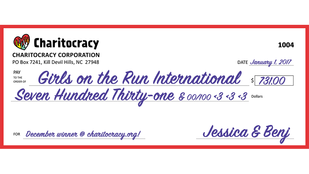 Charitocracy's 4th check: to Girls on the Run for $731