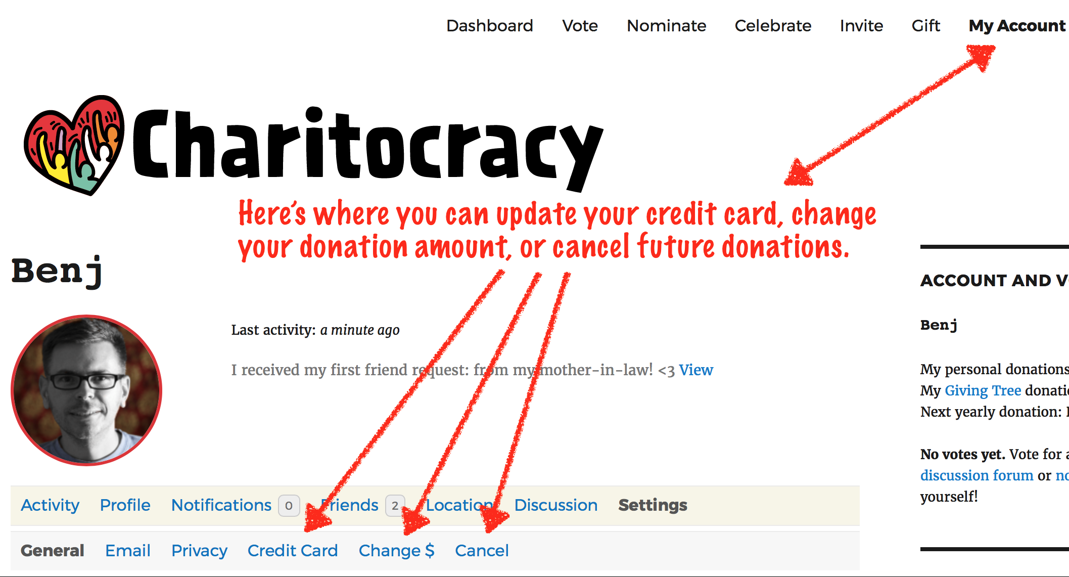 Here's where you can update your credit card, change your annual donation amount, or cancel future donations