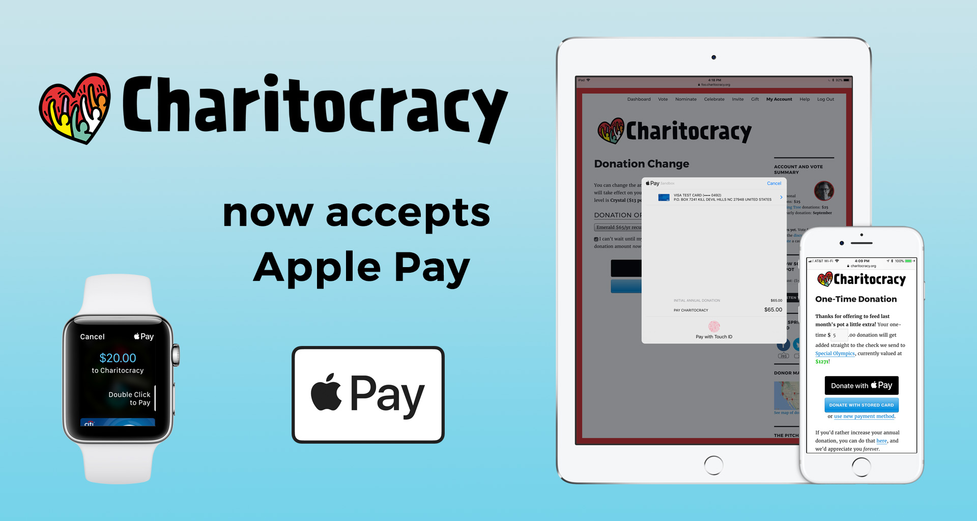 Charitocracy now accepts Apple Pay