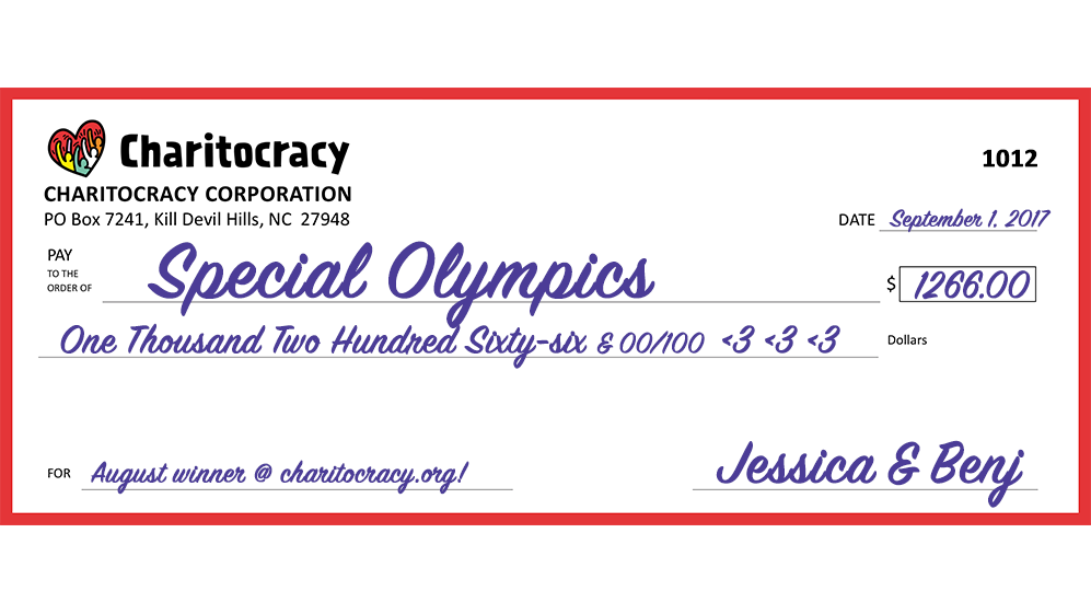 Charitocracy's 12th check to August winner Special Olympics for $1266