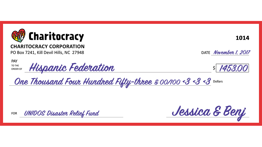 Charitocracy's 14th check: to UNIDOS Disaster Relief Fund @ HF for $1453