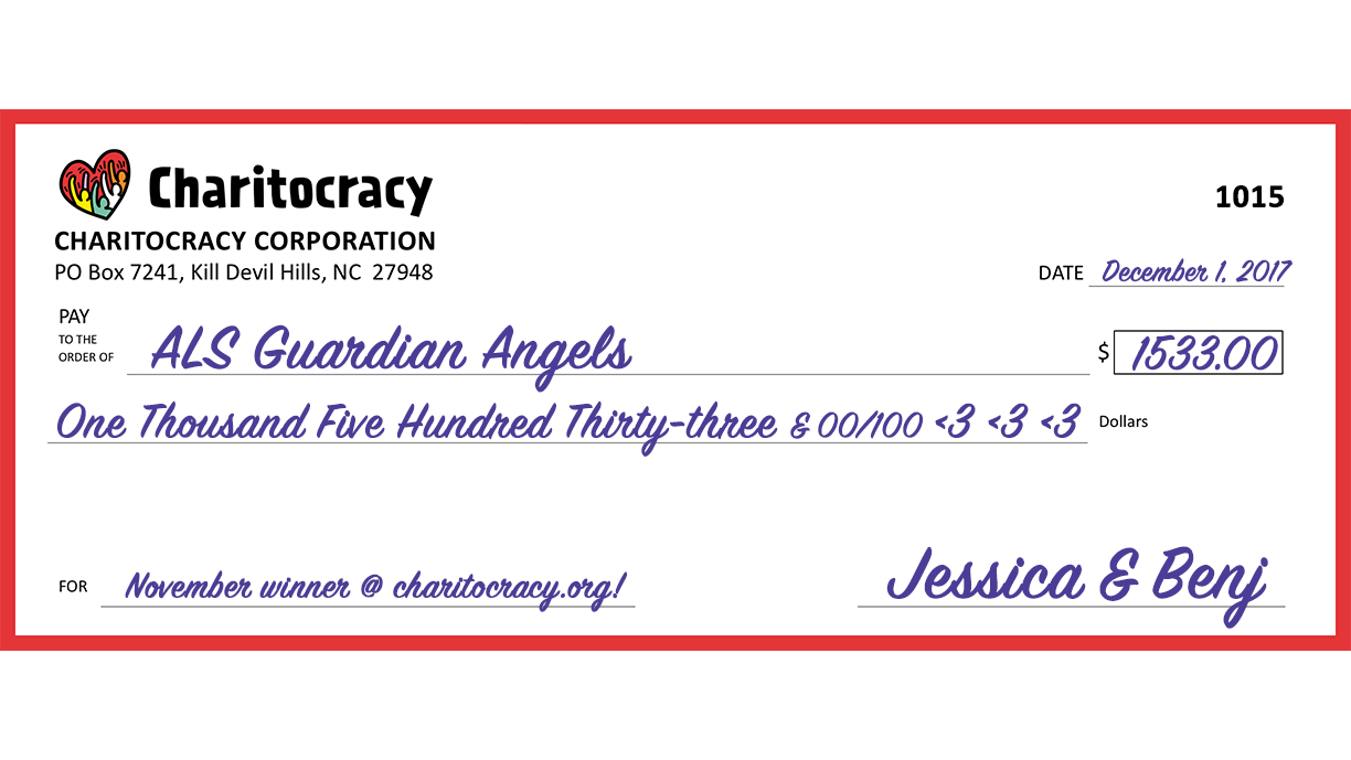Charitocracy's 15th check: to ALS Guardian Angels for $1533
