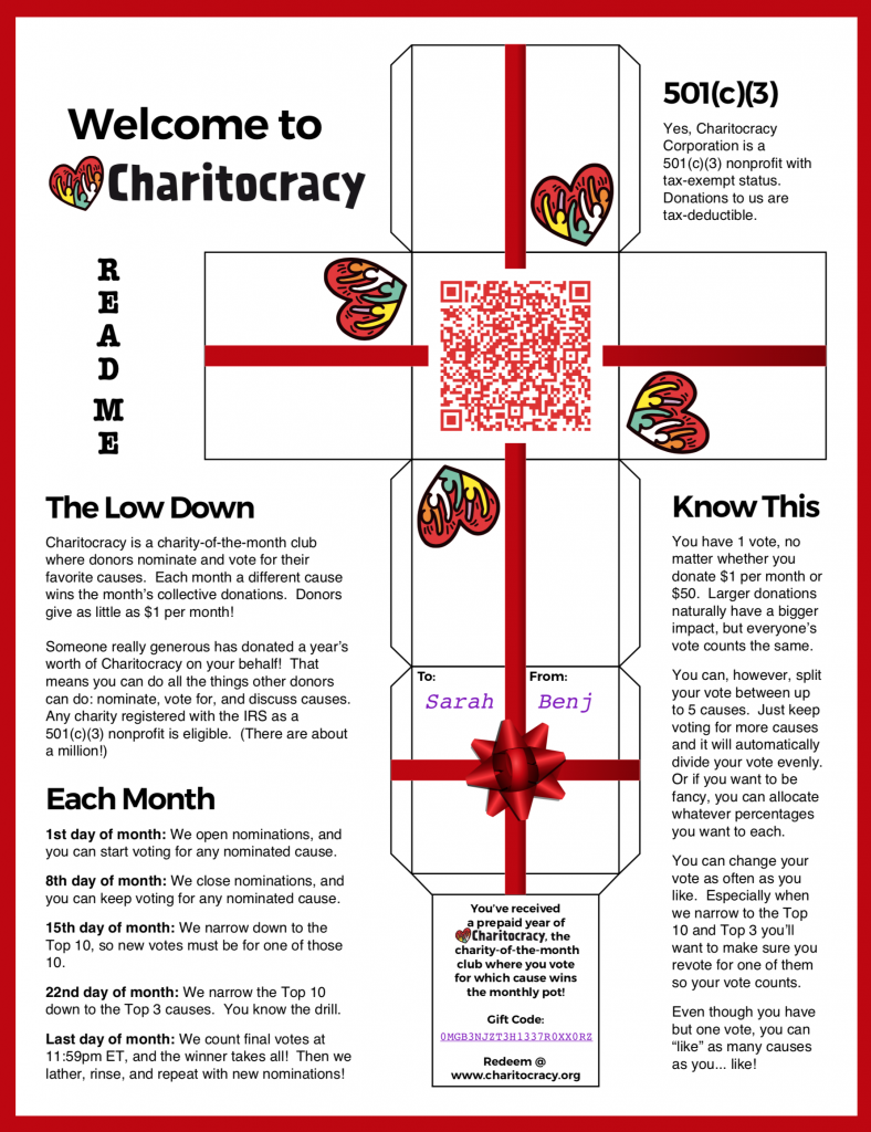 Charitocracy Gift Box and ReadMe