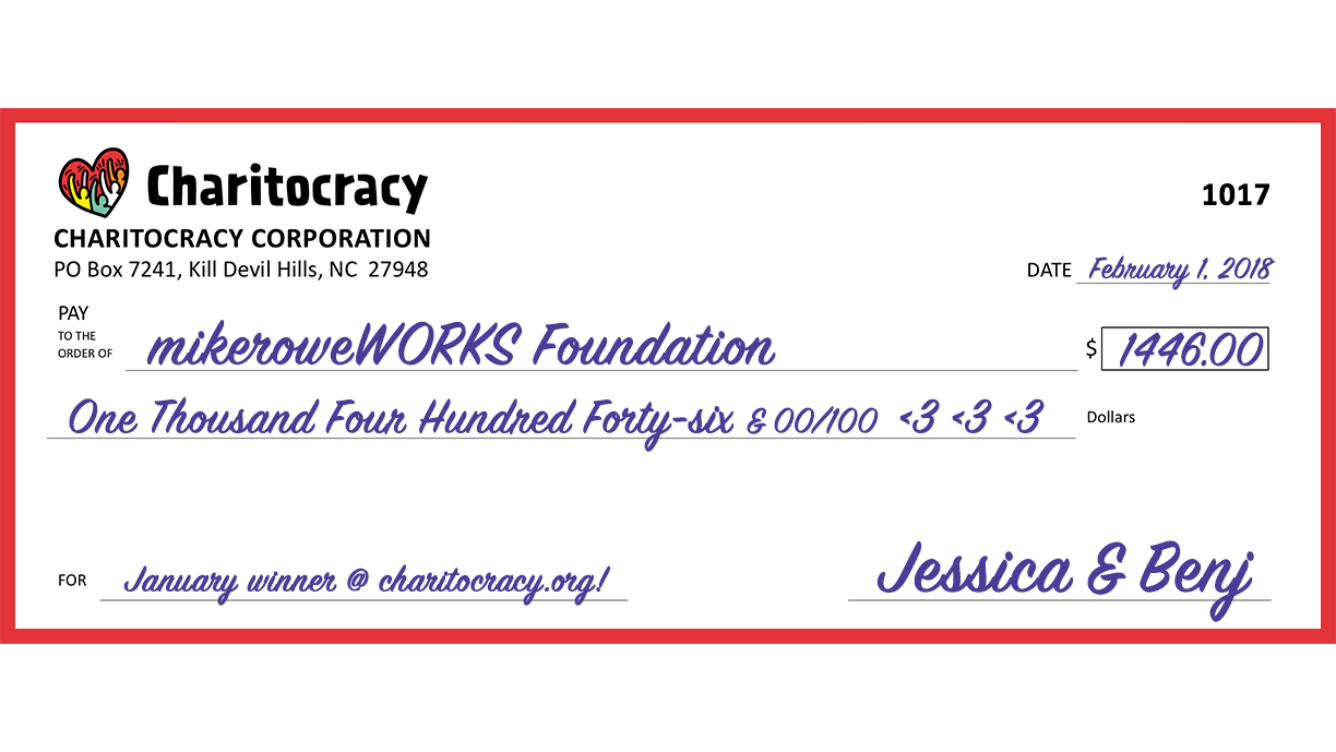 Charitocracy's 17th check to January winner mikeroweWORKS Foundation for $1446