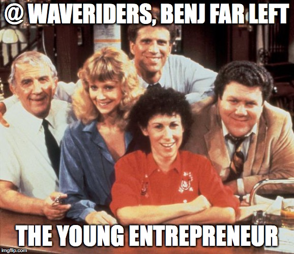 @ Waveriders, Benj far left: the young entrepreneur