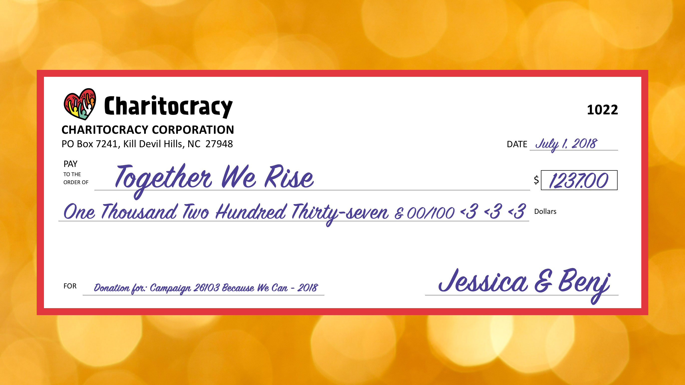Charitocracy's 22nd check to June winner Together We Rise for $1237