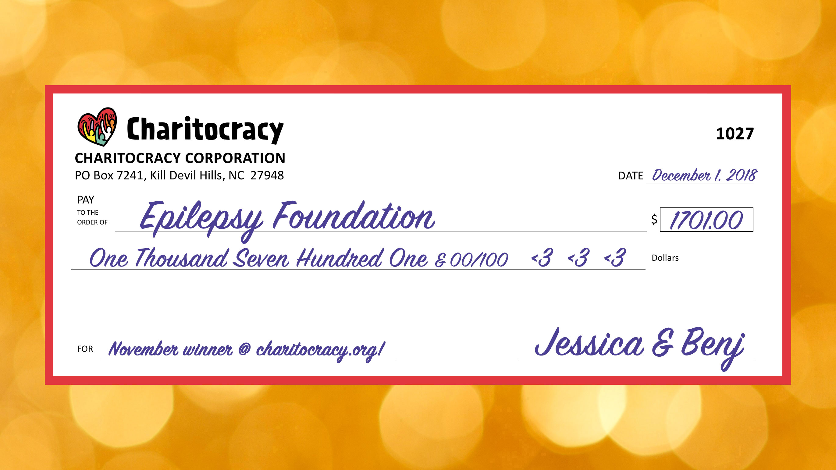Charitocracy's 27th check: to Epilepsy Foundation for $1701