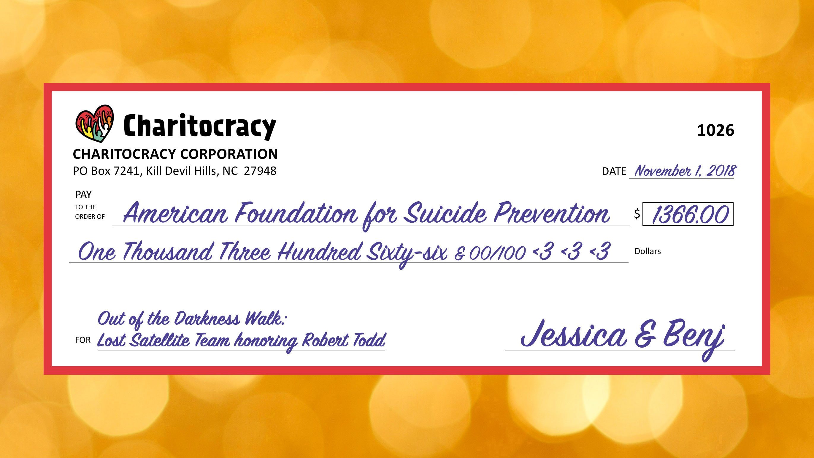 Charitocracy's 26th check to October winner American Foundation for Suicide Prevention for $1366