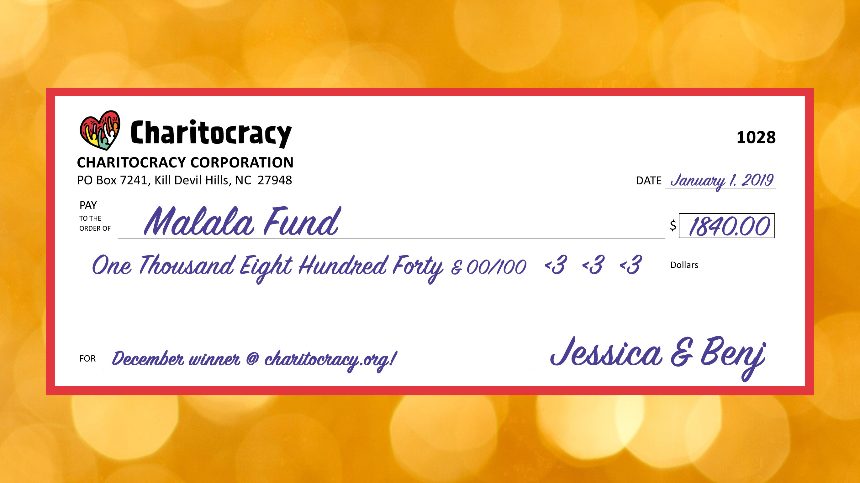 Charitocracy's 28th check: to Malala Fund for $1840