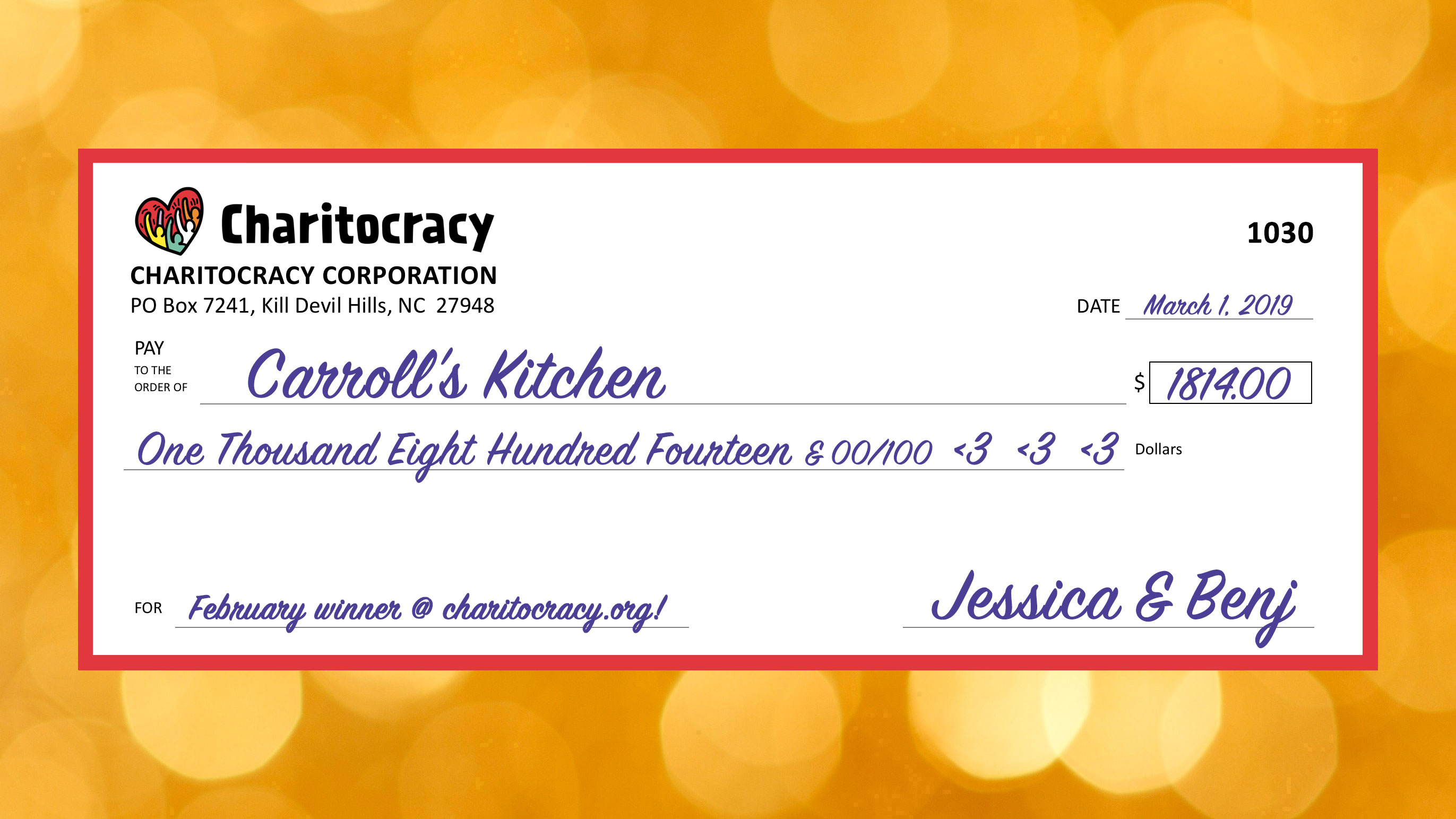 Charitocracy's 30th check to February winner Carroll's Kitchen for $1814