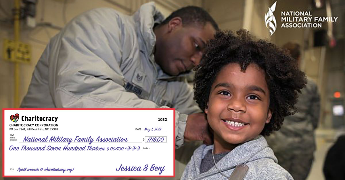 Charitocracy's 32nd check to April winner National Military Family Association for $1713