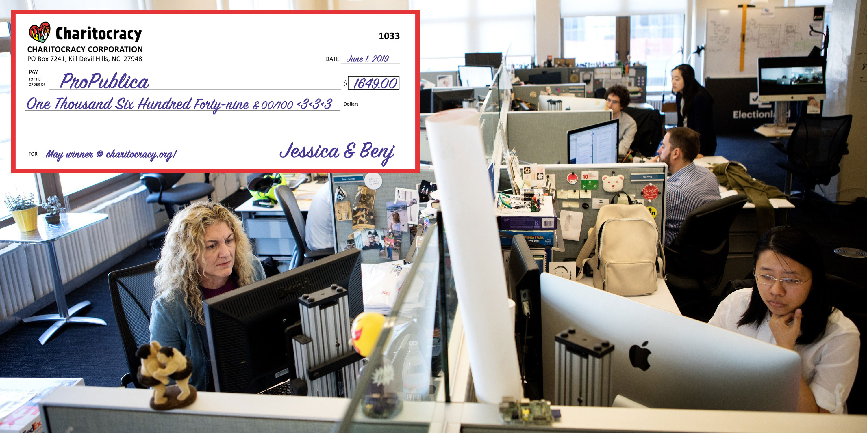 Charitocracy's 33rd check to May winner ProPublica for $1649