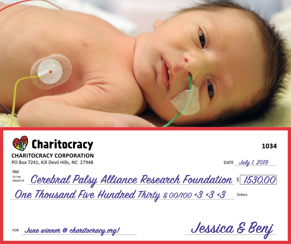 Charitocracy's 34th check to June winner Cerebral Palsy Alliance Research Foundation for $1530