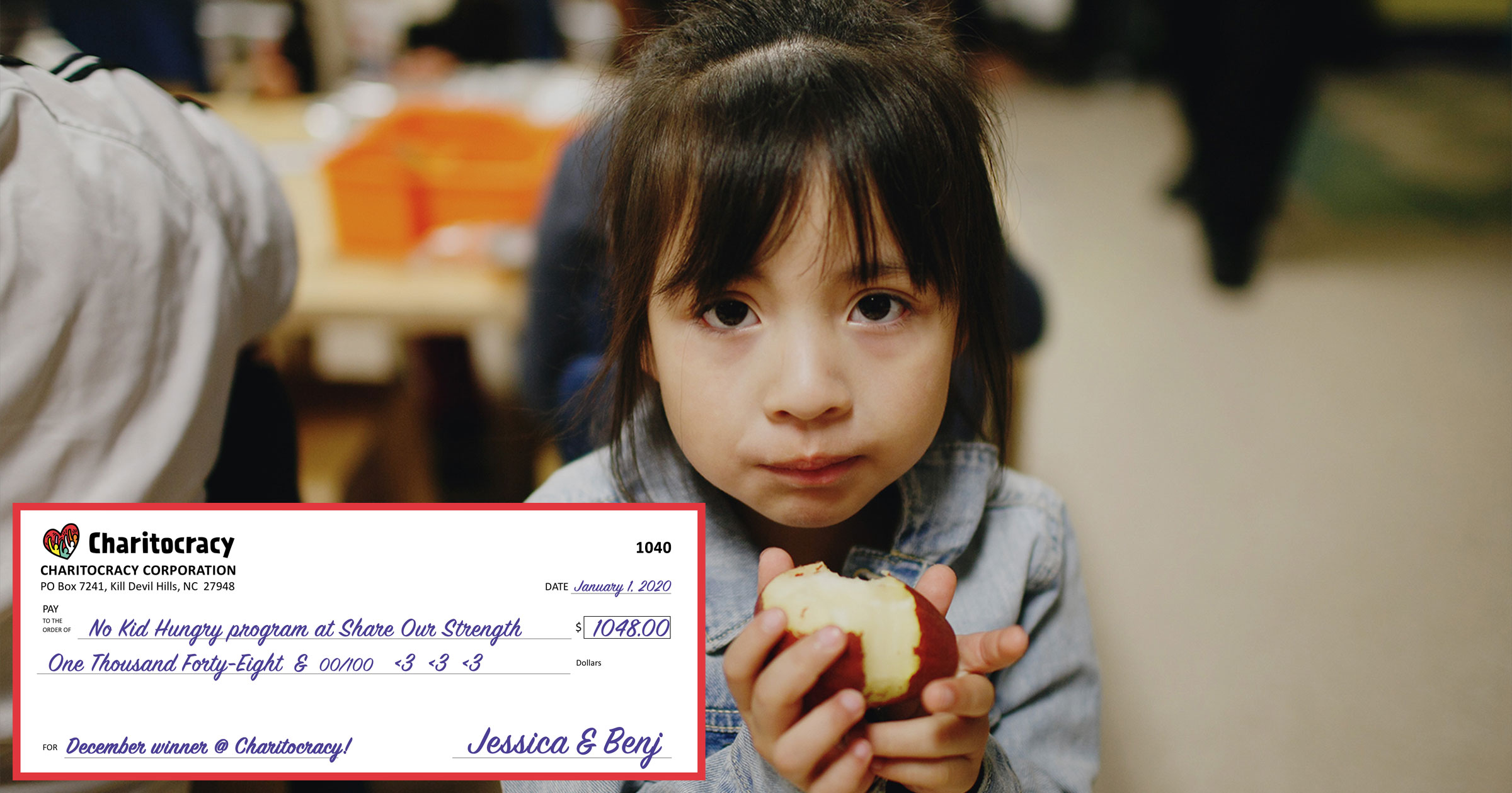 Charitocracy's 40th check to December winner No Kid Hungry for $1048