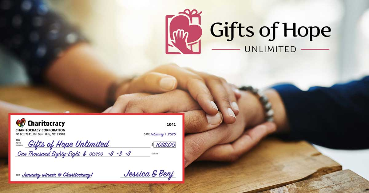 Charitocracy's 41st check to January winner Gifts of Hope Unlimited for $1088