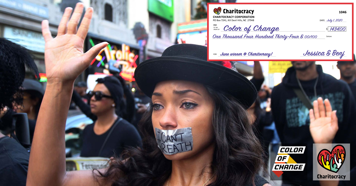Charitocracy's 46th check to June winner Color of Change for $1434
