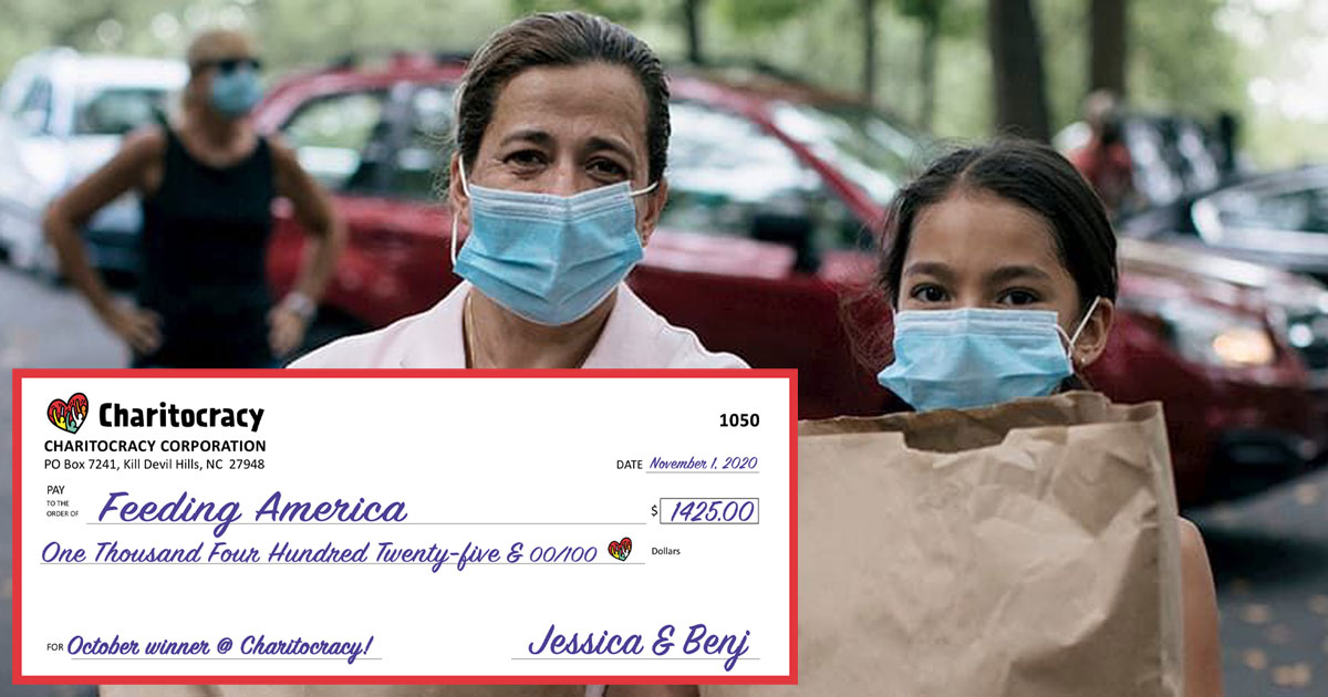 Charitocracy's 50th check to October winner Feeding America for $1425