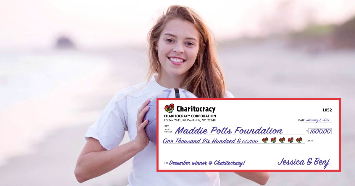 Charitocracy's 52nd check to December winner Maddie Potts Foundation for $1600