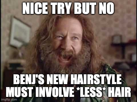 Nice try, but no. Benj's new hairstyle must involve *less* hair.