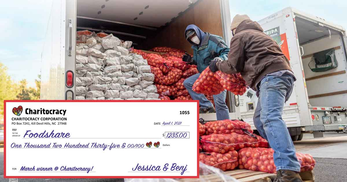 Charitocracy's 55th check to March winner Foodshare for $1235
