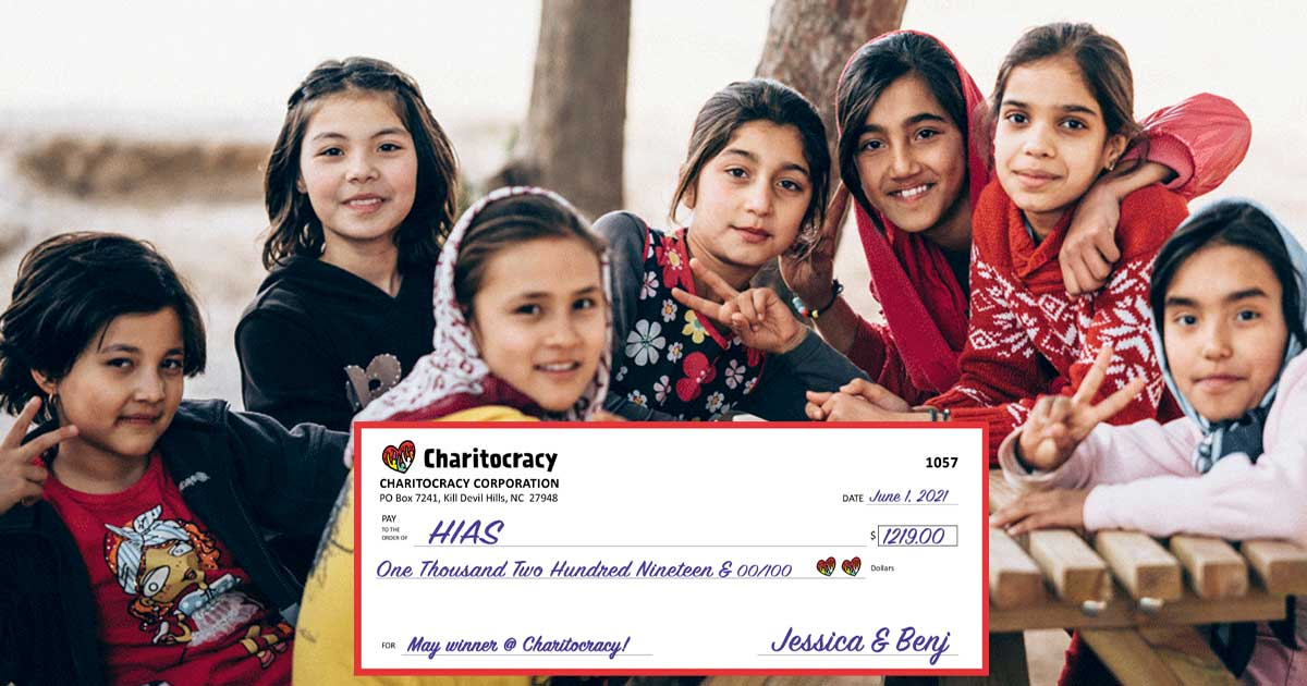 Charitocracy's 57th check to May winner HIAS for $1219